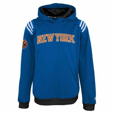 New York Knicks YOUTH Adidas 2013 3 Stripe Pullover Climawarm Sweatshirt