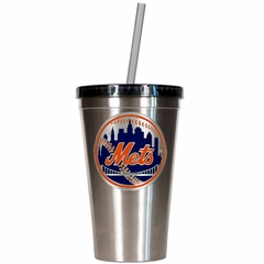 New York Mets 16oz Stainless Steel Insulated Tumbler with Straw