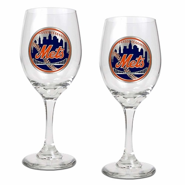 New York Mets 2 Piece Wine Glass Set
