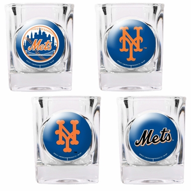 New York Mets 4 Piece Assorted Shot Glass Set