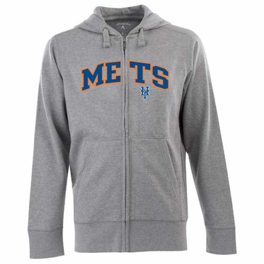 New York Mets Mens Applique Full Zip Hooded Sweatshirt (Color: Gray)