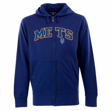 New York Mets Mens Applique Full Zip Hooded Sweatshirt (Team Color: Royal)