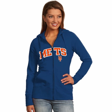 New York Mets Applique Womens Zip Front Hoody Sweatshirt (Team Color: Royal)