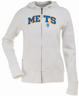 New York Mets Applique Womens Zip Front Hoody Sweatshirt (Color: White)