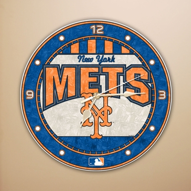 New York Mets Art Glass Clock