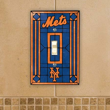 New York Mets Art Glass Lightswitch Cover