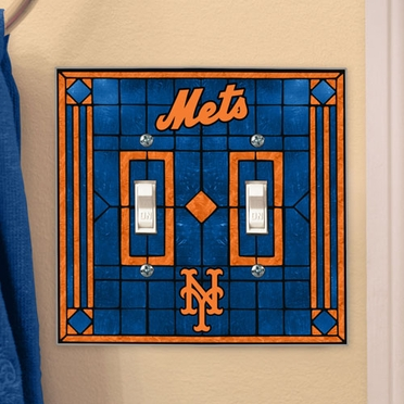 New York Mets Art Glass Lightswitch Cover (Double)