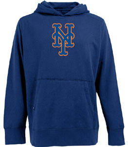 New York Mets Big Logo Mens Signature Hooded Sweatshirt (Team Color: Royal) - Large