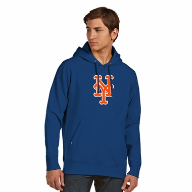 New York Mets Big Logo Mens Signature Hooded Sweatshirt (Color: Royal) - Medium
