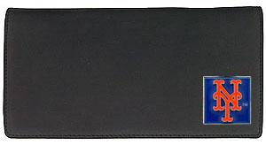 New York Mets Black Leather Checkbook Cover (F)