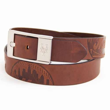 New York Mets Brown Leather Brandished Belt