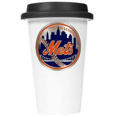 New York Mets Ceramic Travel Cup (Black Lid)