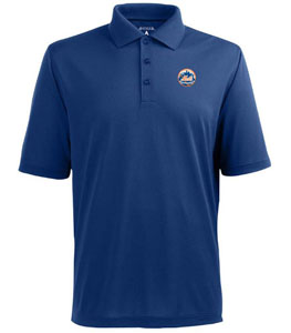 New York Mets Mens Pique Xtra Lite Polo Shirt (Team Color: Royal) - Large