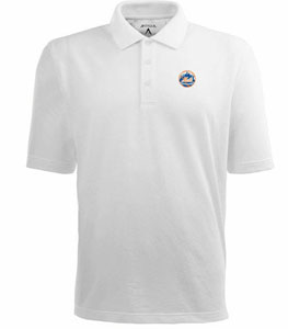 New York Mets Mens Pique Xtra Lite Polo Shirt (Color: White) - Medium