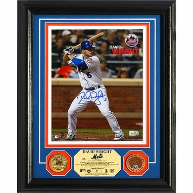 New York Mets David Wright Autographed 24KT Gold & Infield Dirt Coin Photo Mint