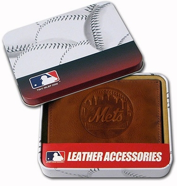 New York Mets Embossed Leather Trifold Wallet