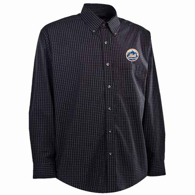 New York Mets Mens Esteem Button Down Dress Shirt (Team Color: Black)