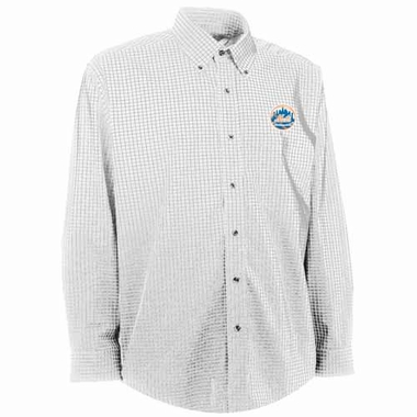 New York Mets Mens Esteem Check Pattern Button Down Dress Shirt (Color: White)