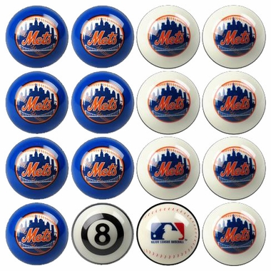New York Mets Home and Away Complete Billiard Ball Set