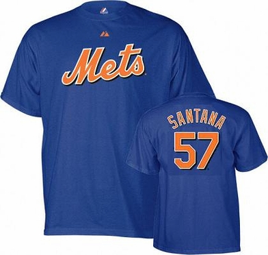 New York Mets Johan Santana YOUTH Name and Number T-Shirt - Medium
