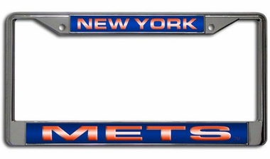 New York Mets Laser Etched Chrome License Plate Frame