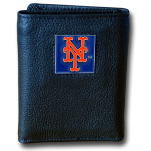 New York Mets Leather Trifold Wallet (F)