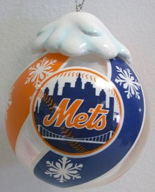 New York Mets Light Up Glass Ball Ornament