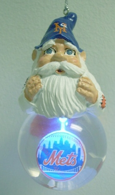 New York Mets Light Up Gnome Snow Globe Ornament