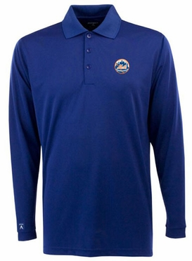 New York Mets Mens Long Sleeve Polo Shirt (Team Color: Royal)