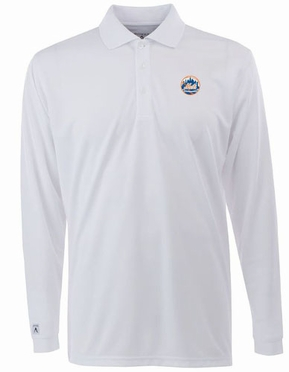 New York Mets Mens Long Sleeve Polo Shirt (Color: White)