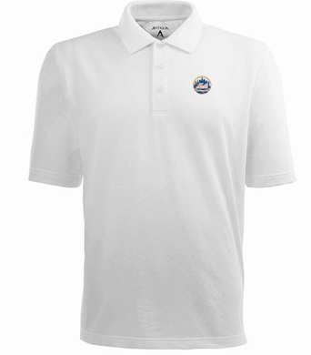 New York Mets Mens Pique Xtra Lite Polo Shirt (Color: White)