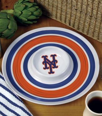 New York Mets Plastic Chip and Dip Plate