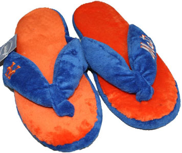 New York Mets Plush Thong Slippers-Medium