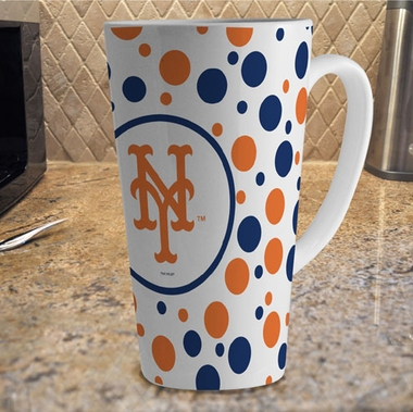 New York Mets Polkadot 16 oz. Ceramic Latte Mug