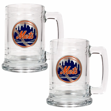 New York Mets Set of 2 15 oz. Tankards