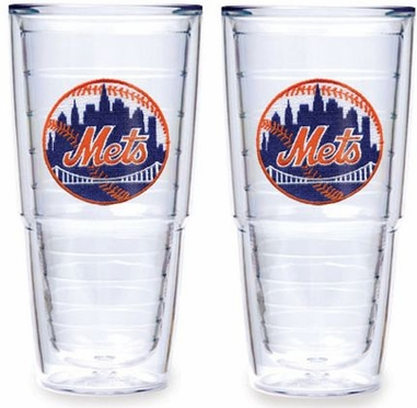 """New York Mets Set of TWO 24 oz. """"Big T"""" Tervis Tumblers"""