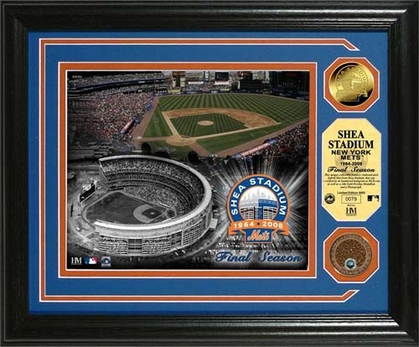 New York Mets Shea Stadium �Final Season� 24KT Gold and Infield Dirt Coin Photo Mint