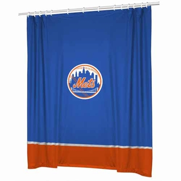 New York Mets SIDELINES Jersey Material Shower Curtain