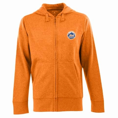 New York Mets Mens Signature Full Zip Hooded Sweatshirt (Alternate Color: Orange)