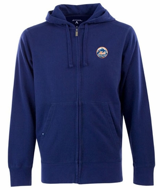 New York Mets Mens Signature Full Zip Hooded Sweatshirt (Team Color: Royal)