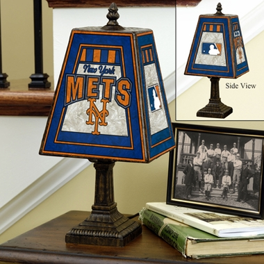New York Mets Small Art Glass Lamp