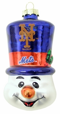 New York Mets Tophat Snowman Glass Ornament