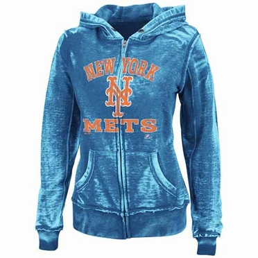 New York Mets Women's Push the Limits Full Zip Hooded Burnout Sweatshirt - Royal