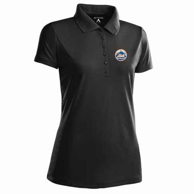 New York Mets Womens Pique Xtra Lite Polo Shirt (Color: Black)