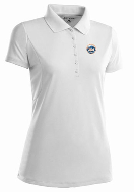 New York Mets Womens Pique Xtra Lite Polo Shirt (Color: White) - Medium