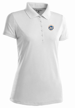 New York Mets Womens Pique Xtra Lite Polo Shirt (Color: White) - Small