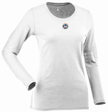 New York Mets Womens Relax Long Sleeve Tee (Color: White)
