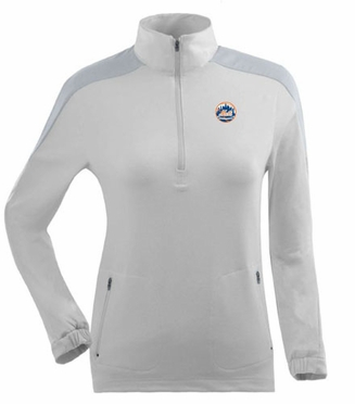 New York Mets Womens Succeed 1/4 Zip Performance Pullover (Color: White) - Large