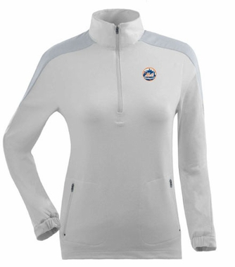 New York Mets Womens Succeed 1/4 Zip Performance Pullover (Color: White) - Medium