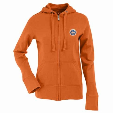 New York Mets Womens Zip Front Hoody Sweatshirt (Alternate Color: Orange)